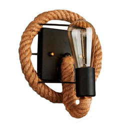 Americano retro lámpara cañamo pared cuerda hierro 20 cm restaurante balcón decoracion