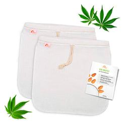 Bolsita hecha de fibra Cañamo para leche vegetal (2 bolsas - 30x30 cm) filtro