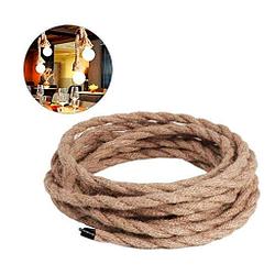 Cable cuerda de cañamo eléctrico de 3 núcleos cobre trenzado vintage bricolaje DIY 5 m