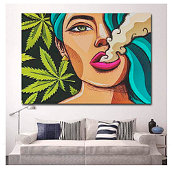 Dayanzai Art Girl fumando cañamo Wall Art Picture canvas poster 60x80cm