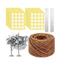Kit fabricación velas mecha cáñamo 200 pies x rollo + 200 etiquetas + 2 exhibidores + 403 piezas soportes metal