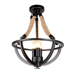 Metal negro mate guita lámpara de cuerda de cáñamo moderno 47 cm