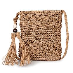 MoGist bolsa de cáñamo playa verano viajes ocio bandolera de hombro pequeña 17 - 3 - 21cm