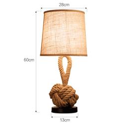NF cáñamo cuerda retro mesa lámpara creativa dormitorio luz calida