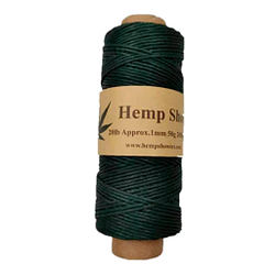 Ovillo de cáñamo color verde cazador 1mm-50g-205feet-62m marca Hemp Show