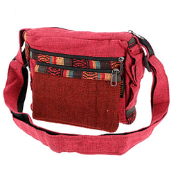 Pequeño bolso de hombro hecho de Cáñamo étnico rojo Unisex adultos 18x23x10 cm