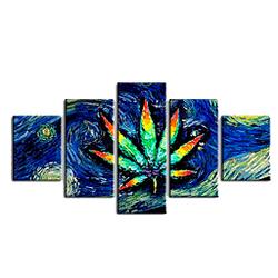aoyu Xiaoyao 5 lienzo de pintura Marco de madera, Hoja de cáñamo abstracta azul